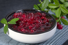 Lingonberry jam (cowberries) Stock Photo