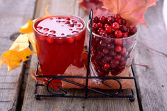 Lingonberry juice and berries Royalty Free Stock Photo