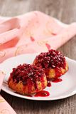 Lingonberry upside down muffins Stock Images