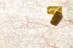 lingot d'or d'or de bar d'opérations bancaires Photographie stock