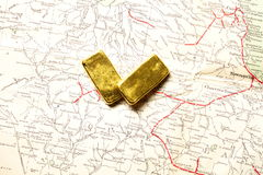 lingot d'or d'or de bar d'opérations bancaires Photographie stock libre de droits