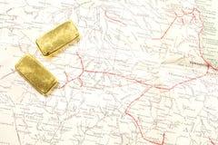 lingot d'or d'or de bar d'opérations bancaires Image stock