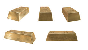 lingot d'or d'or de bar d'opérations bancaires rendu 3D réaliste Isolat sur le blanc Image stock