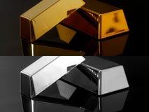 Lingot d'or et barres argentées sur le fond noir illustration libre de droits