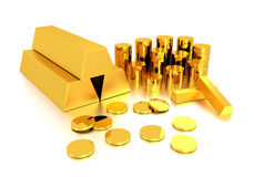 Lingot d'or et pièce d'or Images libres de droits
