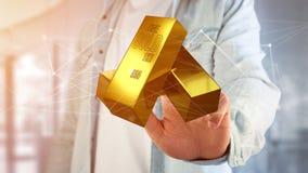 Lingot d'or shinning devant la connexion - 3d rendent Photos libres de droits