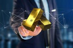 Lingot d'or shinning devant la connexion - 3d rendent Image stock