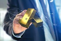 Lingot d'or shinning devant la connexion - 3d rendent Photo libre de droits