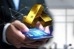 Lingot d'or shinning devant la connexion - 3d rendent Image libre de droits
