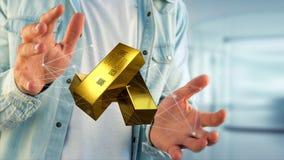 Lingot d'or shinning devant la connexion - 3d rendent Images stock
