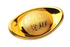 Lingote chinês do ouro fotografia de stock