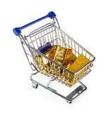 Lingote de oro en carro de compras Imagen de archivo libre de regalías