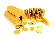 Lingote de oro y moneda de oro Imágenes de archivo libres de regalías