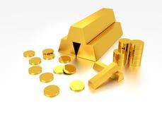 Lingote de ouro e moeda de ouro Fotos de Stock
