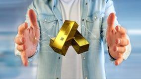 Lingote de ouro que shinning na frente da conexão - 3d rendem Imagem de Stock Royalty Free
