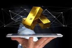 Lingote de ouro que shinning na frente da conexão - 3d rendem Fotos de Stock
