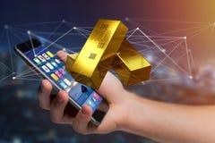 Lingote de ouro que shinning na frente da conexão - 3d rendem Fotos de Stock Royalty Free