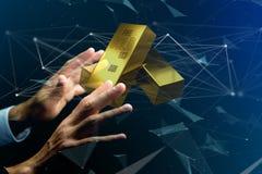 Lingote de ouro que shinning na frente da conexão - 3d rendem Imagens de Stock