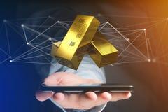Lingote de ouro que shinning na frente da conexão - 3d rendem Fotografia de Stock Royalty Free