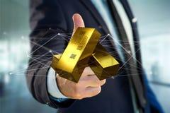 Lingote de ouro que shinning na frente da conexão - 3d rendem Fotografia de Stock