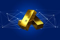 Lingote de ouro que shinning na frente da conexão - 3d rendem Imagens de Stock Royalty Free