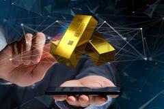 Lingote de ouro que shinning na frente da conexão - 3d rendem Foto de Stock Royalty Free