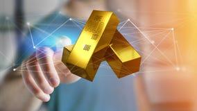 Lingote de ouro que shinning na frente da conexão - 3d rendem Imagem de Stock