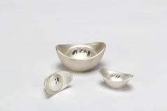 Lingote de prata chinês Foto de Stock Royalty Free