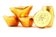 Lingote del oro Fotos de archivo