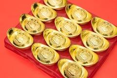 Lingote del oro de China en el Año Nuevo chino Fotografía de archivo libre de regalías