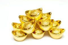 Lingote del oro de China en el Año Nuevo chino festivo Imagen de archivo libre de regalías