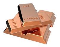 Lingotes de cobre isolados no branco Imagem de Stock Royalty Free