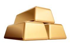 Lingotes de oro 3 aislados Foto de archivo libre de regalías