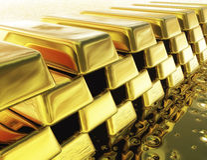 Lingotes de ouro de Digitas Imagens de Stock Royalty Free