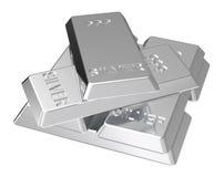 Lingotes de prata isolados no branco Imagem de Stock