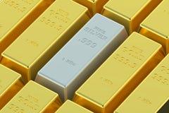 Lingotes del oro y de la plata Fotos de archivo libres de regalías