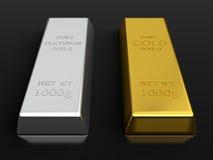 Lingotes del oro y del platino Foto de archivo libre de regalías