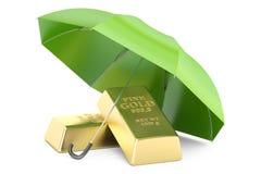 Lingotes do ouro com guarda-chuva, seguro financeiro e facada do negócio Foto de Stock