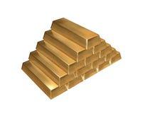 Lingotes do ouro isolados foto de stock