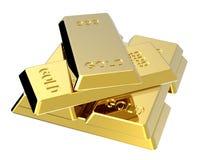 Lingotes do ouro isolados no branco Foto de Stock