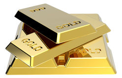 Lingotes do ouro isolados no branco Fotos de Stock Royalty Free