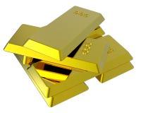 Lingotes do ouro isolados no branco. Fotografia de Stock Royalty Free