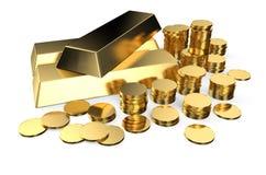 Lingotes e moedas do ouro Imagem de Stock Royalty Free
