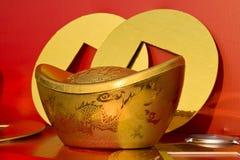 Lingots chinois d'or images libres de droits