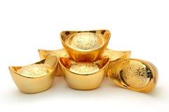 Lingotti cinesi dell'oro Immagini Stock