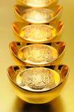 Lingotti cinesi dell'oro Immagine Stock