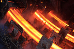 Lingotti d'acciaio ad alta temperatura Immagini Stock Libere da Diritti
