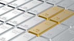 Lingotti del platino e dell'oro. Immagine Stock
