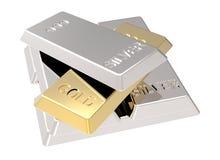 Lingotti dell'oro e dell'argento isolati su bianco. Fotografia Stock Libera da Diritti