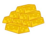 Lingotti dell'oro isolati Fotografie Stock Libere da Diritti